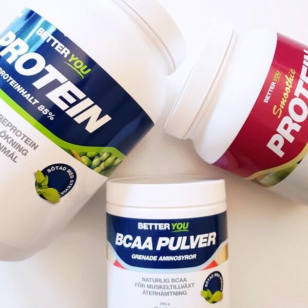 Våra proteinpulver